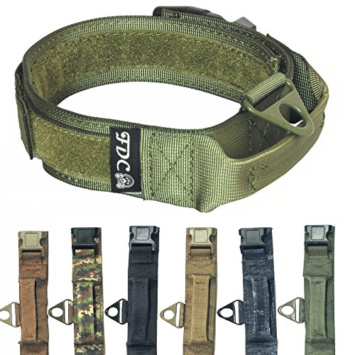 "FDC Heavy Duty Military Army Tactical K9 Dog Collars Handle Hook & Loop Width 1.5in Plastic Buckle Medium Large (L: Neck 12"" - 14"", Military Green)"