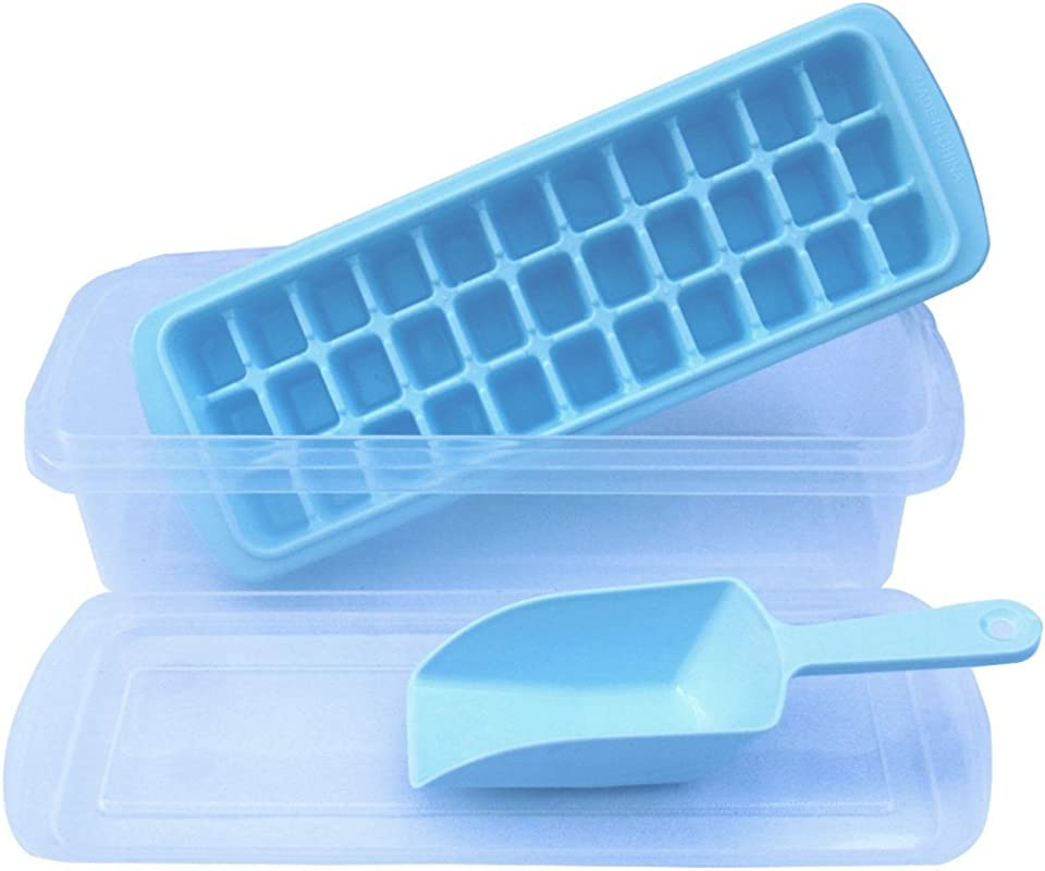 Ice Cube Trays Ice Trays With No Spill Cover Ice Scoop Ice Cube Bin Makes 33 Ice Cubes