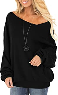Off One Shoulder Sweater for Women Long Sleeve Pullover Slouchy Baggy Tops