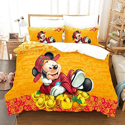 2 Piezas Funda Nórdica Cama 90 Infantil Disney-Mickey Mouse , Bedding Set Single para Niños & Niñas, Juego Funda Edredón 135x200 cm Y 1 Funda De Almohada