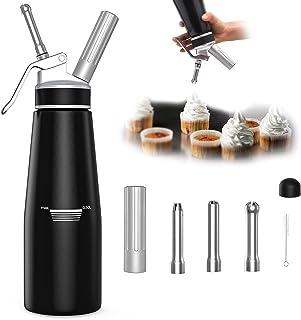Lruxacy Siphon en Aluminium Professionnel 500ml, Siphon à Crème Siphons de Cuisine avec 3 Douilles en Acier Inoxydable et ...
