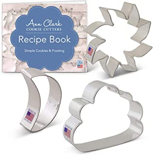 Ann Clark Cookie Cutters 3-Piece Day and Night Sky Cookie Cutter Set with Recipe Booklet, Sun, Moon & Cloud