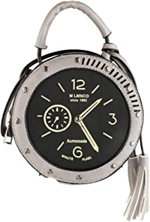 D DOLITY Fashion Womens Crossbody Shoulder Round Clock Messenger Handbag-Light Grey