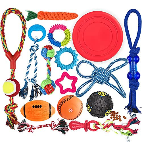Puppy Teething Chew Toys Set, [15-Pack] Dog Toy Bundle for Small or Medium Dogs, Durable Tug Rope Toy, Cute Rubber Teething Rings, Squeak Treat Dispensing Balls, Interactive Flyer (Colors May Vary)