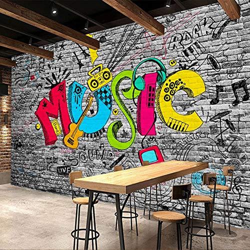 Papel pintado 3D personalizado con diseño de grafiti callejero y sencillo para restaurante, club KTV, bar, decoración moderna, negro, 50X80CM