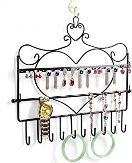 Lovoski Metal Hanging Jewelry Organizer Rack, Wall Mounted Jewelry Holder for Earring, Necklace and Bracelet, Decorative Jewelry Hanger Display - Black