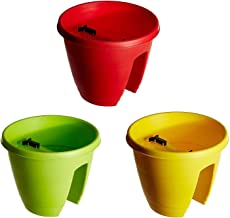 Go Hooked Railing Pots and Planter, Railing Flower Pots Multicolor (12-Inch, Set of 3 Pieces)