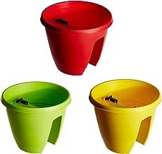 Go Hooked Railing Pots and Planter, Railing Flower Pots Multicolor (12-Inch, Set of 3 Pieces)