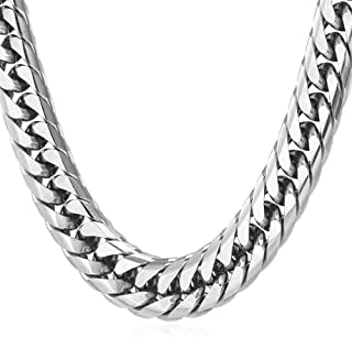 "U7 Stainless Steel/Black Metal/ 18K Gold Plated Chain 3.5mm 6mm or 9mm Franco Curb Chain Necklace, Length 22"" 26"" 28"" 30"""