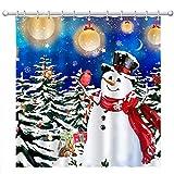 Hexagram Weihnachtsduschvorhänge Schneemann mit Fantasie-Weihnachtsblasen Polyester Winter Badezimmer Wasserdicht Duschvorhänge mit Haken Weihnachtsdekoration für Badezimmer 182,9 x 182,9 cm