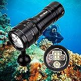 wurkkos DL07 Linterna LED de buceo 3000 lúmenes,100 m, iluminación subacuática para fotografía, recargable por USB, interruptor giratorio 26650