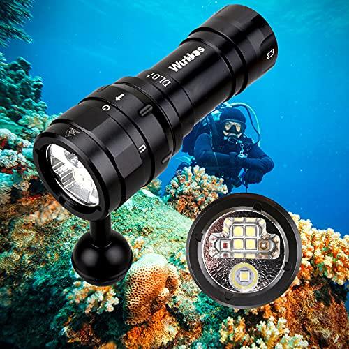 Wurkkos DL07 Tauchlampe,3000 Lumen LED Tauchen Taschenlampe 100 M Unterwasser Foto Füllbeleuchtung USB wiederaufladbare Drehschalter Taschenlampe 26650 U-Boot-Licht mit UV-Rotlicht Light