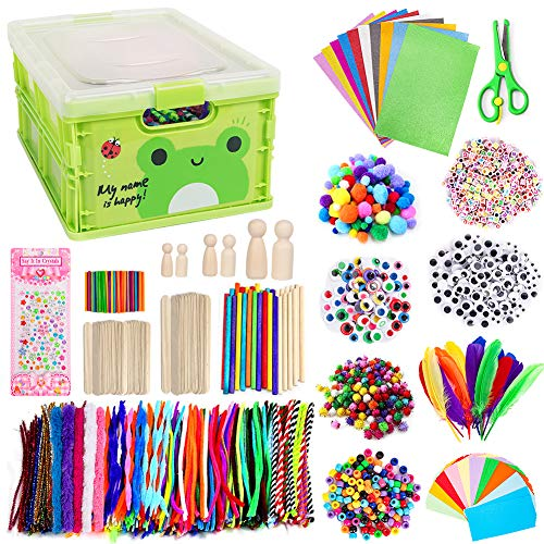 N&T NIETING 1500Pcs Arts and Crafts Supplies for Kids, DIY Kids Arts Crafts Supplies Kit for Toddlers with Pipe Cleaners, Pom Poms, Wiggle Googly Eyes, Folding Storage Box