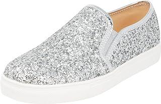 Cambridge Select Women's Closed Round Toe Glitter Encrusted Stretch Slip-On White Sole Fashion Sneaker