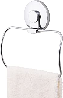 TAILI Drill-Free Removable Vacuum Suction Cup Towel Ring Holder Hanger Rustproof Reusable for Shower Bathroom Kitchen Accessories, Chromed Stainless Steel