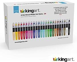 KingArt Studio Mixed Media Gel Stick Set, Set of 24, Unique Colors 24 Piece