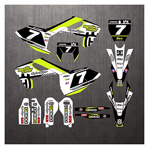 Wjyfexble Motocicletas Calcomanías Gráficos Pegatinas Kits para Husqvarna TC FC TX FX FX FS 2016-2018 TE FE 125 150 250 300 350 450 501 2017 2018 2019 TX125 2017 2018 2019 2019 WYJHN (Color : Green)