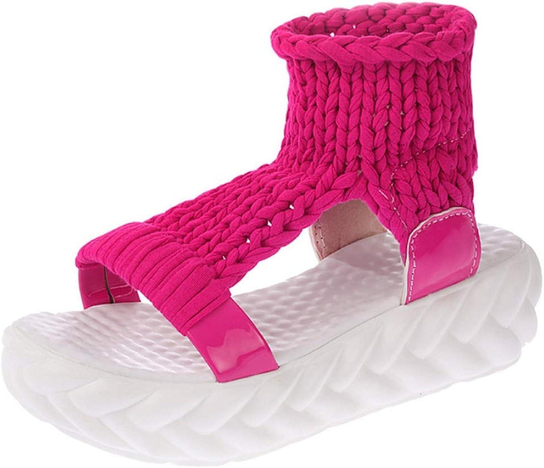 T-JULY Knit Women Sandals Girls Anti Slip Open Toe Outdoor Footwear Woman Platform Thick Sole Ladies Flats shoes