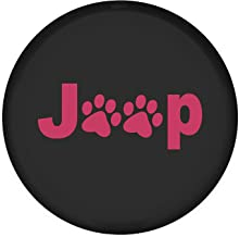 Spare Tire Cover Leather Red Dog Claw Car Truck SUV Camper for Jeep Liberty Wrangler Commander Compass Grand Cherokee Size M R15 235/65R17 255/65R16 235/75R15 245/70R15 (Diameter 28inch-30inch)