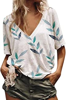 Mlide Womens Loose Blouse Tops V-Neck Casual Short Sleeve Leaf Printed Fashion T-Shirt in Summer