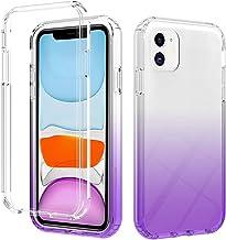 TYWZ Crystal Back Case voor iPhone 11, Gradient Shockproof Clear Hard Bumper Slanke Beschermende Cover Anti-Shock-Paars