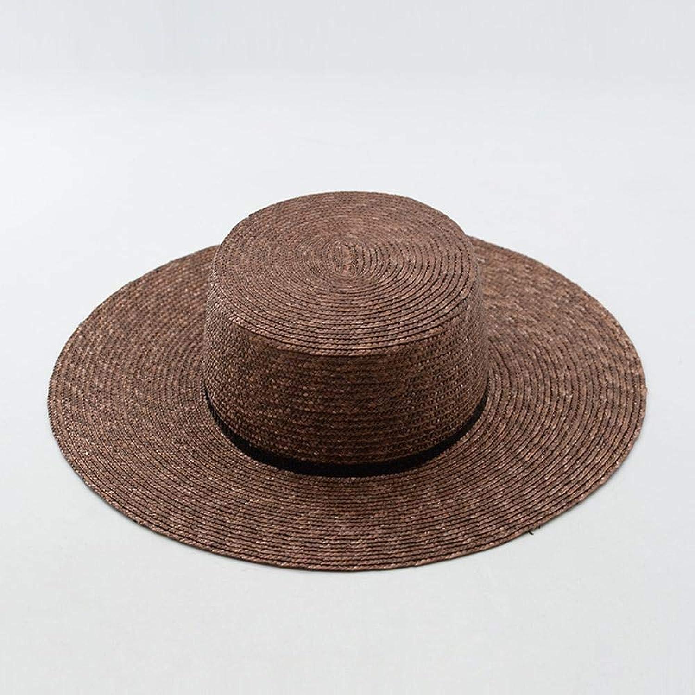 TtKj Lady Straw Hat Superfine Natural Straw Flat Hat Summer Sun Visor SunTopped Cap