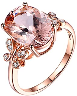 TIFENNY Fashion Ring for Women Natural Morgan Stone Plated 18K Rose Gold and Diamond Ring Wedding