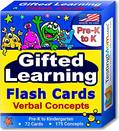 TestingMom.com Gifted Learning Flash Cards – Verbal Concepts and Vocabulary Sight Words for Pre-K – Kindergarten – Educational Toy for CogAT Test, Iowa Test, OLSAT, NYC Gifted and Talented, WPPSI