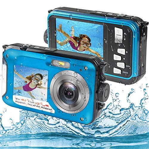 Unterwasserkamera, Unterwasser Kamera Full HD 2.7K 48MP Kamera Wasserdicht mit Zwei Bildschirmen, 16-fachem Digitalzoom und Selbstauslöser