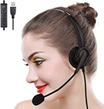 Computer Headphone for PC Call Center Home Office Online Skype Laptop with Microphone in Cord Volume Control Noise Cancelling