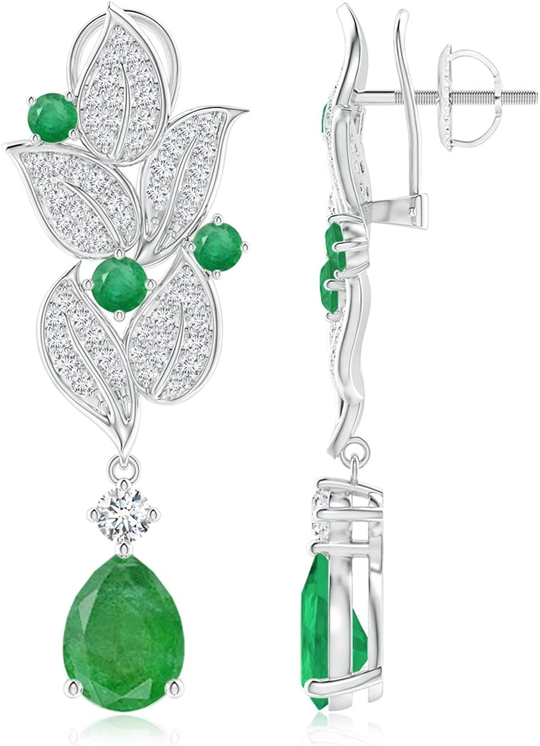 Mail order cheap High quality new Pear and Round Emerald 8x6mm Earrings Leaf Drop