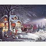 Pintura por números Familia de motos de nieve Kit de Pintura al óleo de Lienzo DIY para Niños con Pinceles,Pigmento Acrílico, Pintura de Dibujo DIY, 40X50 CM(Sin marco)