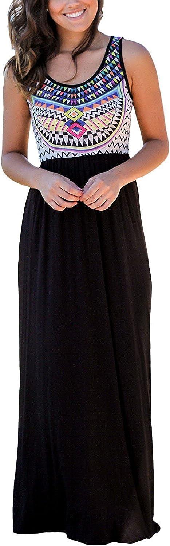 FashionRun Women's Sleeveless Aztec Print Summer Beach Dress Casual Maxi Long Dresses