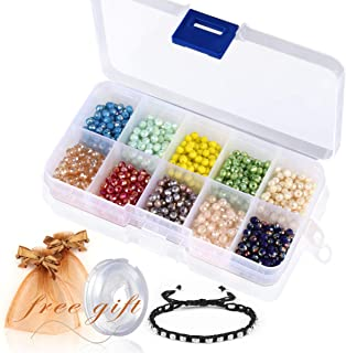 Briolette Faceted Rondelle Crystal Glass Beads in Assorted Color with Spacers and Container Box for Jewelry Making 4mm 6mm 8mm (#104, 4mm)