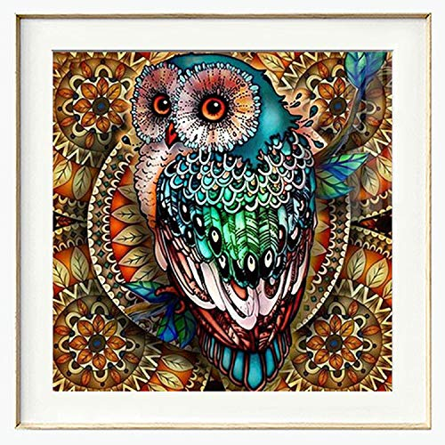 Diamond Painting Kits for Adults Kids, 5D DIY Owl Diamond Art Accessories with Round Full Drill for Home Wall Decor - 11.8×11.8Inches