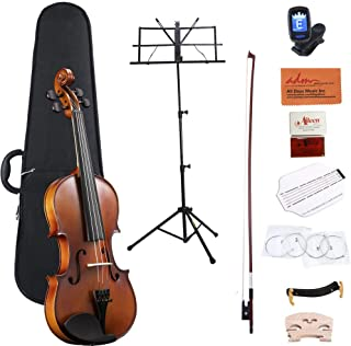 ADM Full Size 4/4 Acoustic Violin Set Solid wood Ebony with Hard Case, Rosin, Shoulder Rest, Bow, and Extra Strings for Kids Beginners Students