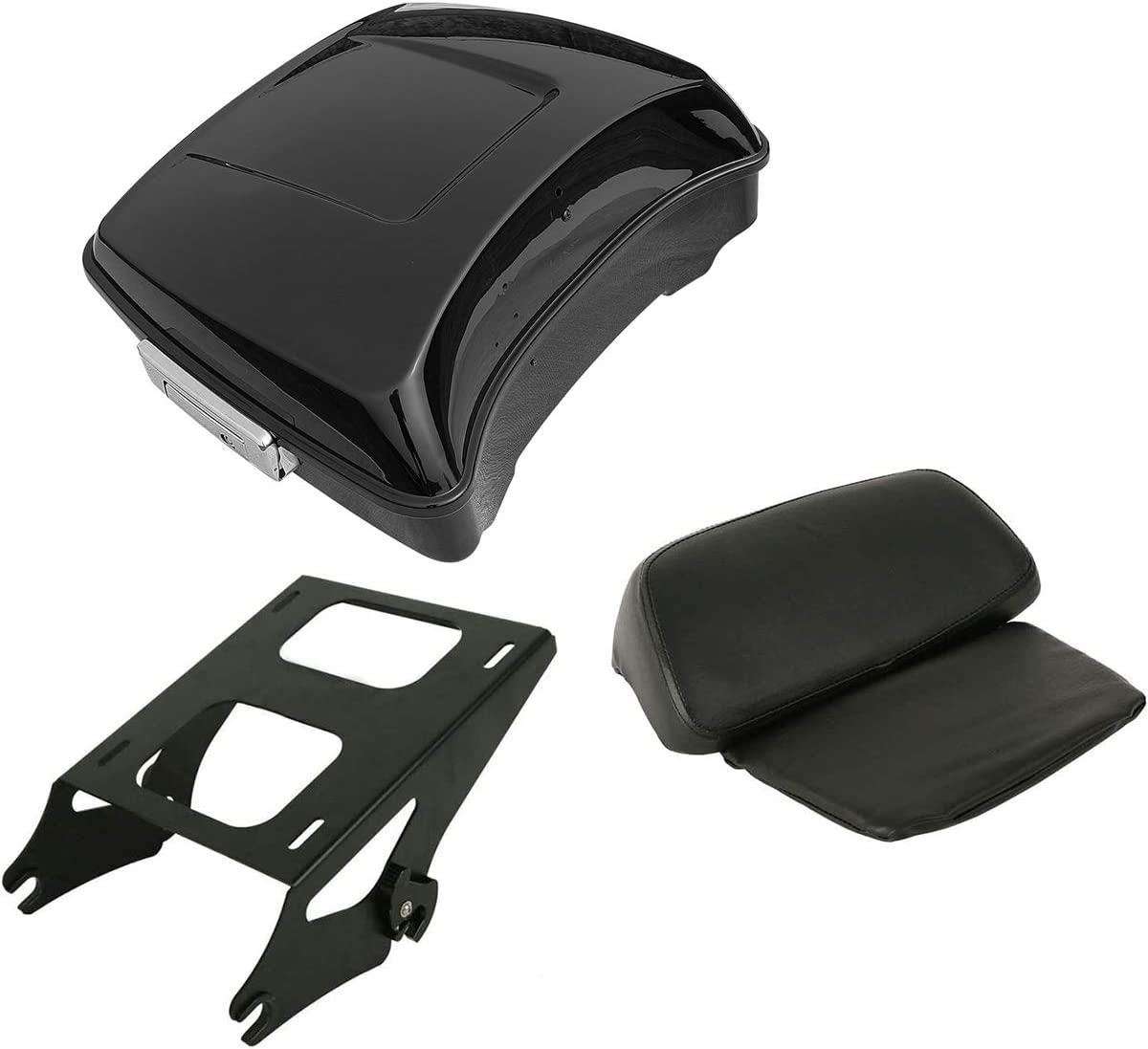 SLMOTO Chopped Tour Pack Popular brand in the world Deluxe Trunk w Ba Lock + Chrome Latches Hinges