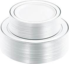 102 Pieces Silver Plastic Plates, White Disposable Plates, China Like Design Silver Plates Includes: 51 Dinner Plates 10.25 Inch and 51 Salad/Dessert Plates 7.5 Inch
