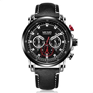 Megir ML2085GS-BK-1 Leather Round Analog Watch for Men - Black