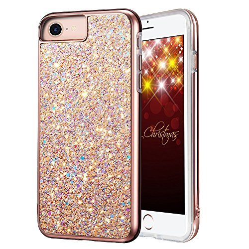 Miracase iPhone SE 2020 Case, iPhone 8/7 Case, Luxury Bling Sparkle Hard PC Girls Women Cover Soft TPU Inner Shockproof Glitter Case for Apple iPhone 8/7 / 6/6s (4.7 inch), Rose Gold
