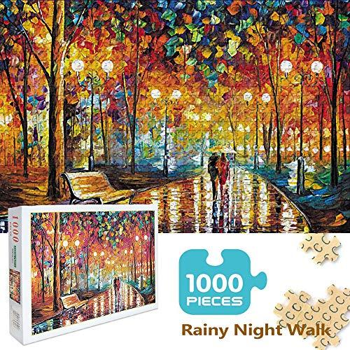 Kalolary 1000-teiliges Puzzle für Kinder und Erwachsene - Rainy Night Walk