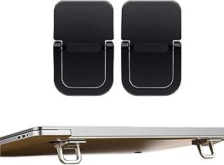 AIYUJIWU ノートパソコン スタンド 台 ノートPCスタンド ノートパソコンホルダー macbook PCスタンド 人間 工学 貼り付け型 折り畳み式 フットヒート 亜鉛合金製 耐久性 冷却 放熱 軽量 滑り止め 持ち運びに便利 (ブラック)