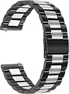 Galaxy Watch 42mm / Active 2 40mm 44mm Bands, TRUMiRR 20mm Solid Stainless Steel Metal Watch Band Quick Release Strap for Samsung Galaxy Watch Active 40mm (SM-R500), Garmin Vivoactive 3, Amazfit Bip
