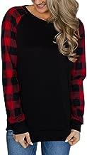 Howstar Women Patchwork Plaid Shirt Long Sleeve O-Neck Sweatshirts Casual Blouse Tops