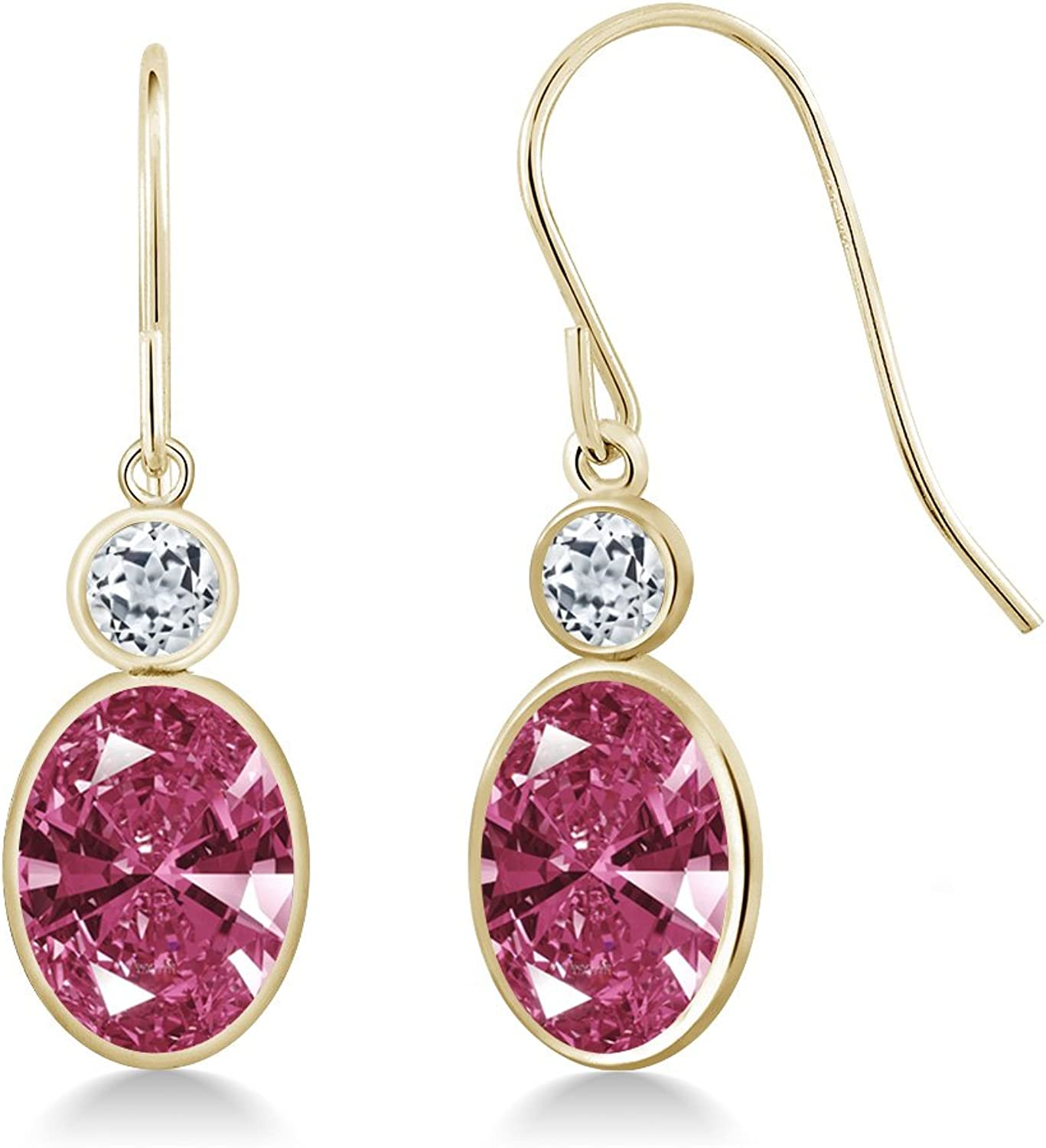 2.70 Ct Red 14K Yellow gold Earrings Made With Swarovski Zirconia