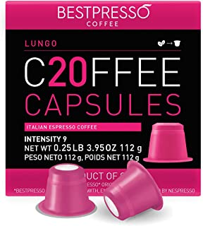 Bestpresso Coffee for Nespresso Original Machine 120 pods Certified Genuine Espresso Lungo Blend (High Intensity) Pods Com...