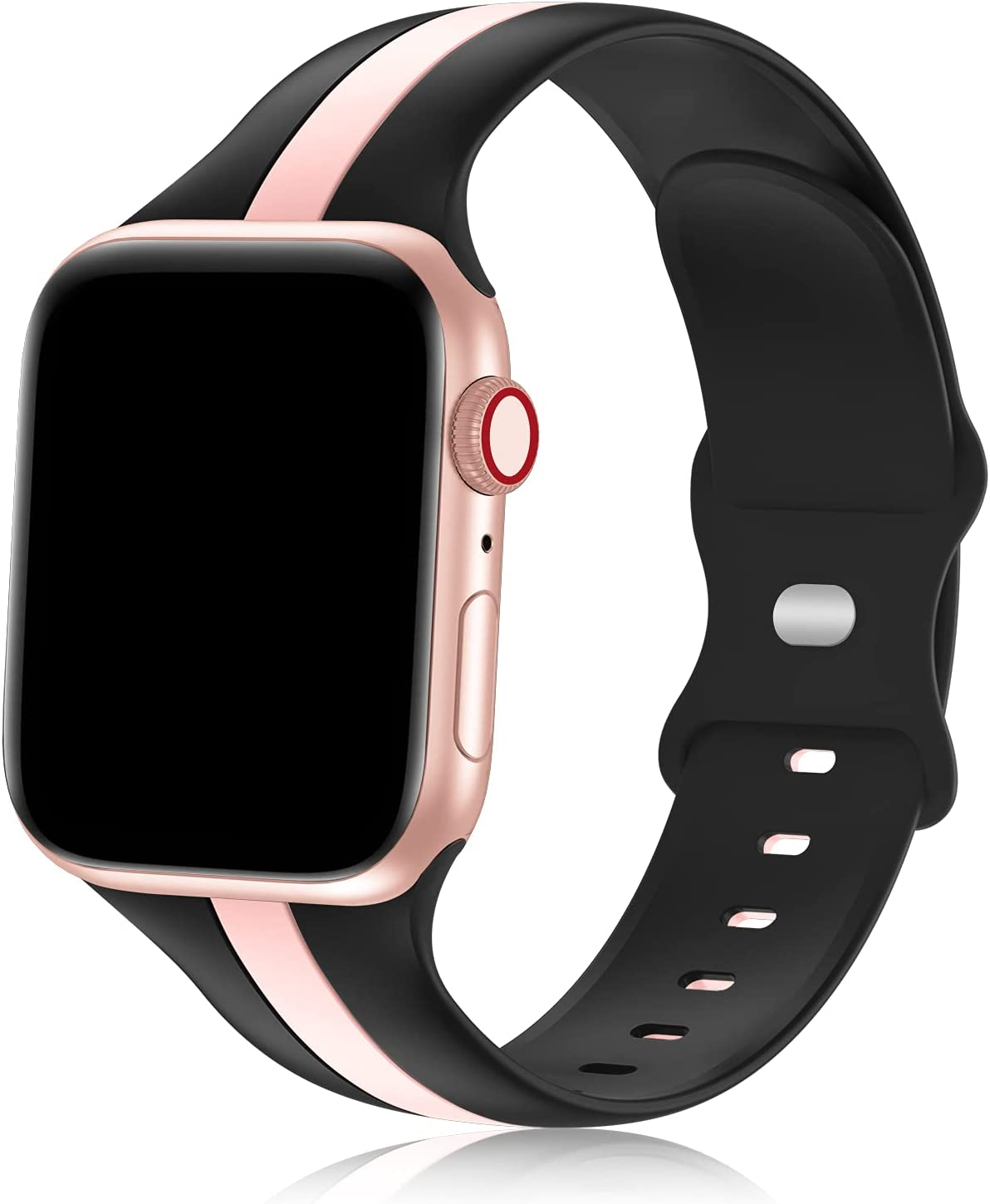 iWabcertoo Designer Sport Bands Compatible with Apple Watch Bands 38mm 40mm 41mm Women and Men,Soft Silicone Replacement Strap Bands for iWatch Series 7 6 5 4 3 2 1 SE Black Pink
