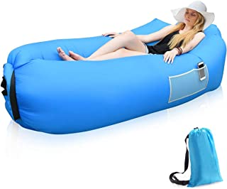 Siphly Sofa Hinchable con Almohada integrada y Bolsa, Sofa Inflable, portátil Impermeable Ligero poliéster Aire sofá Inflable ocioso, Aire Cama Tumbona de Playa para Viajes, Piscina, Camping
