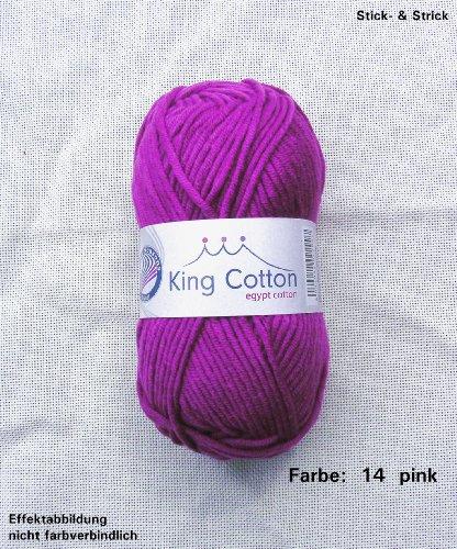 50 gr. King Cotton Fb. 14 pink, Neu, Sommergarn, Strickwolle,