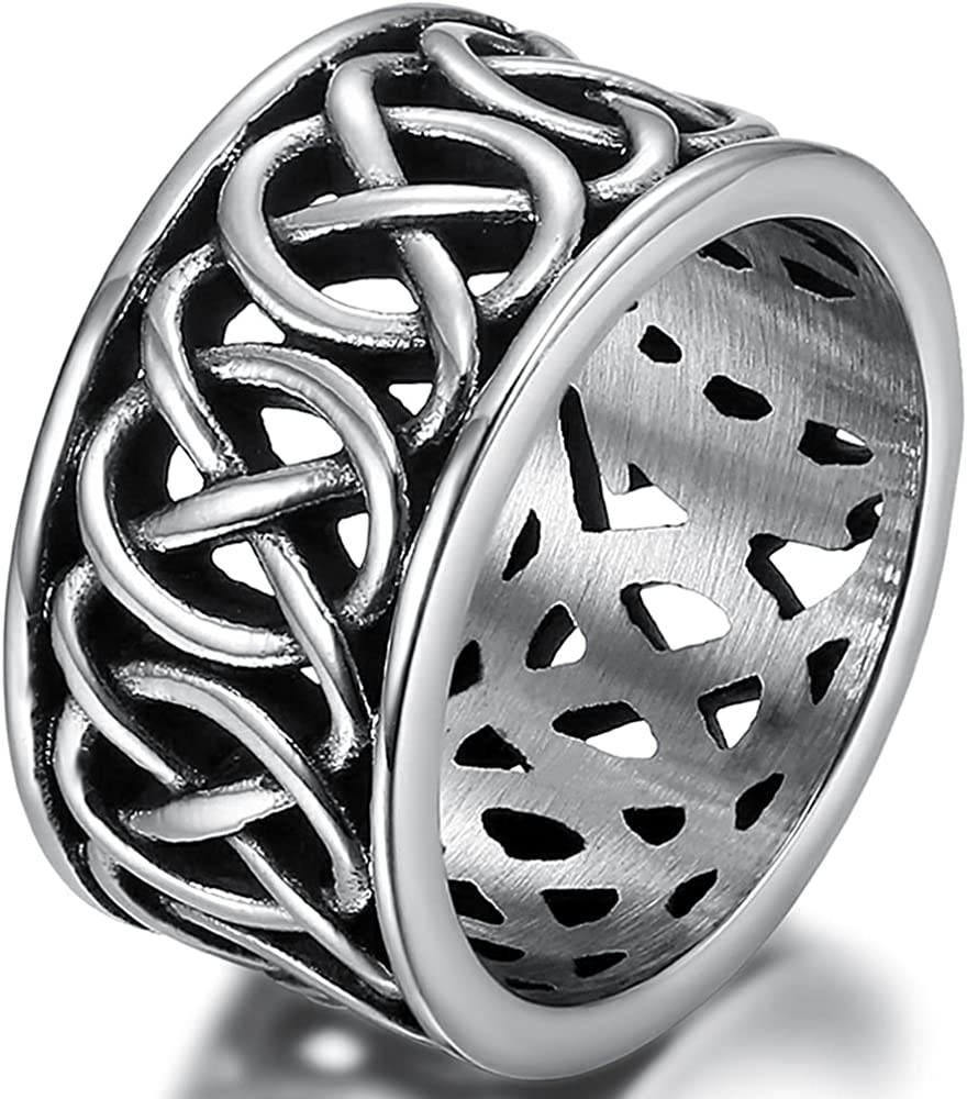 Stainless Steel Retro Vintage Carved Celtic Wedding Band Knot St Popular brand in Mail order the world